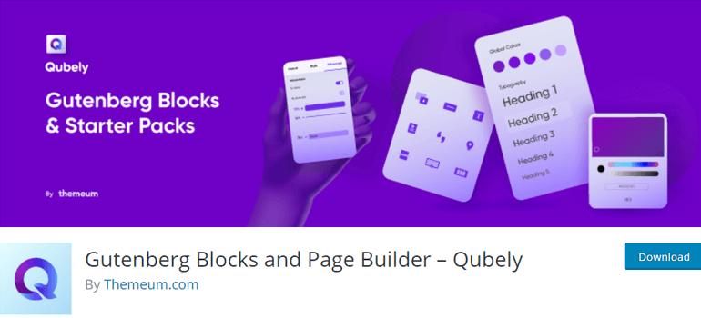 Qubely best wordpress gutenberg plugins