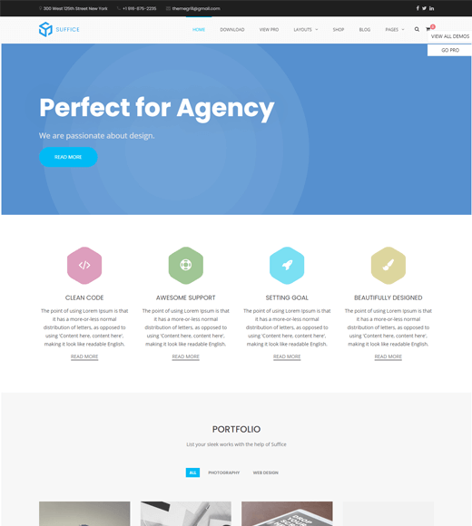 Suffice creative agency wordpress theme
