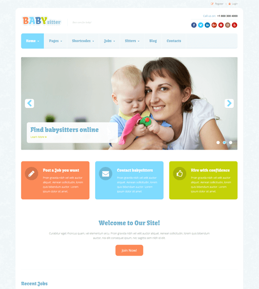 Babysitter Job Board WordPress Theme