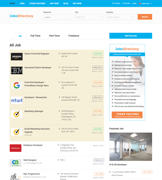 Jobs Directory Theme