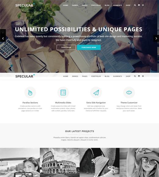 Specular creative agency wordpress theme