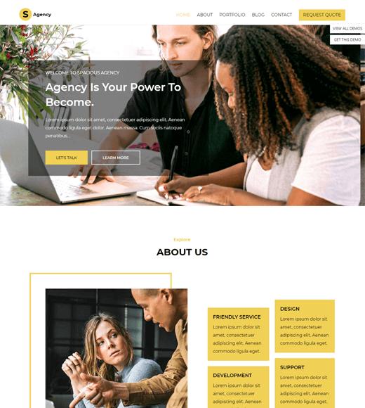 Spacious creative agency wordpress theme