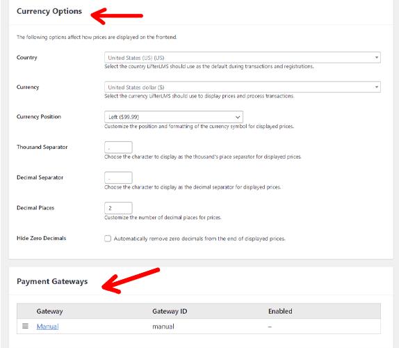 LifterLMS Manual Payment gateway