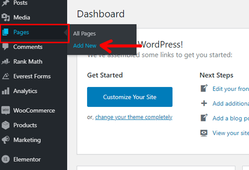 How to Make a Business Website in WordPress Navigation Add New Page