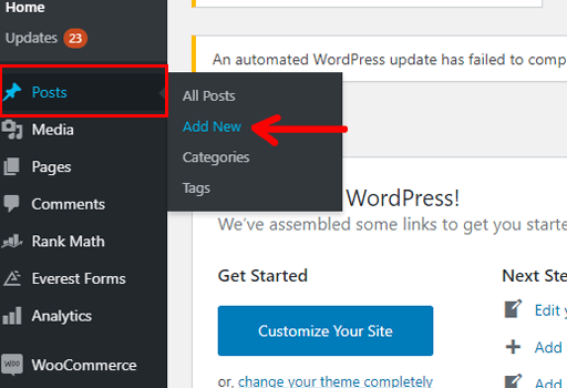 How to Make a Business Website in WordPress Navigation Add New Post