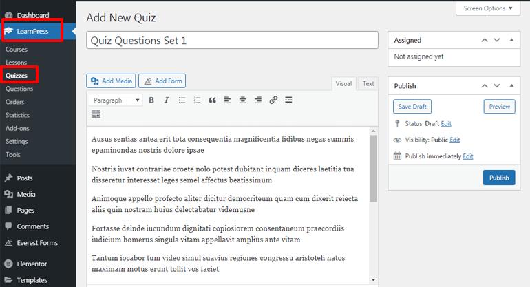 Add New Quiz