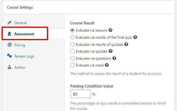 Assessment Settings How to Create an Online Course Using WordPress