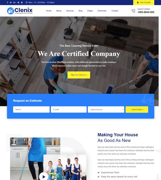 Clenix Laundry Service WordPress Theme