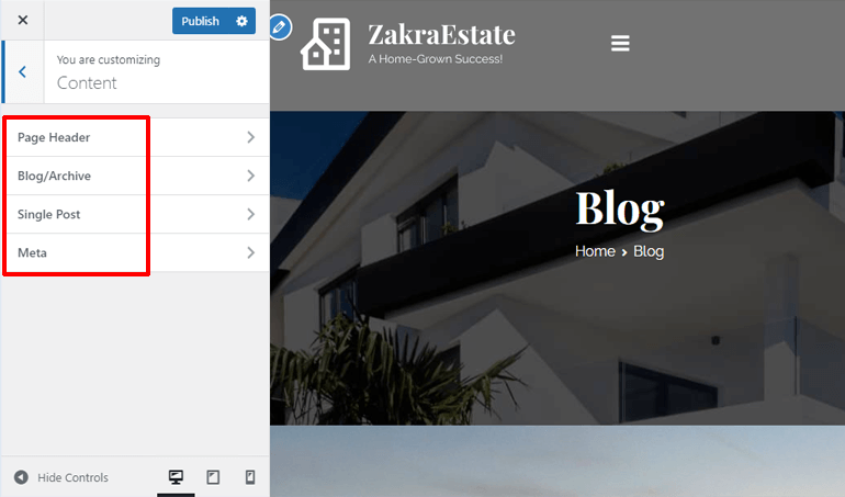 Content Options for Real Estate Website