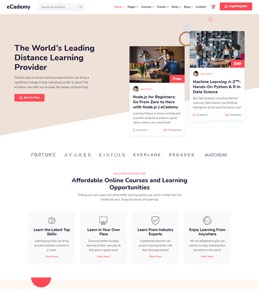 eCademy WordPress LMS Themes