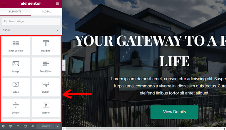 Elementor Options to Create Real Estate Website