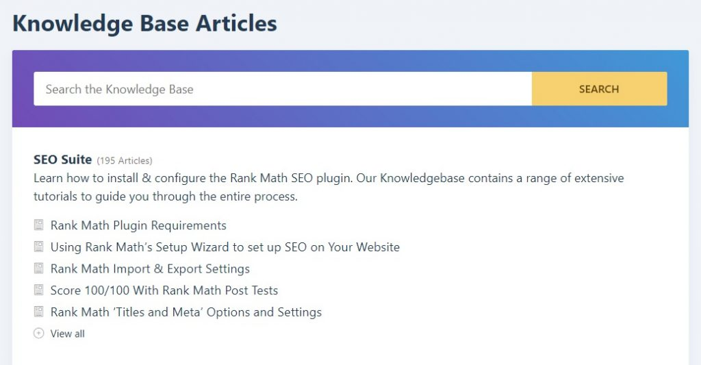 knowledgebase articles rank math seo review
