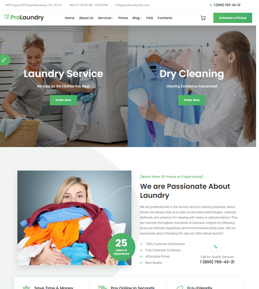 Laundry WordPress Theme for Cleaning Services