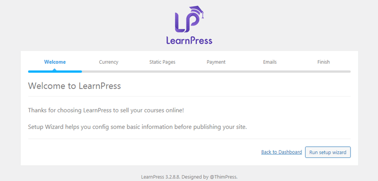 LearnPress Setup Wizard How to Create an Online Course Using WordPress