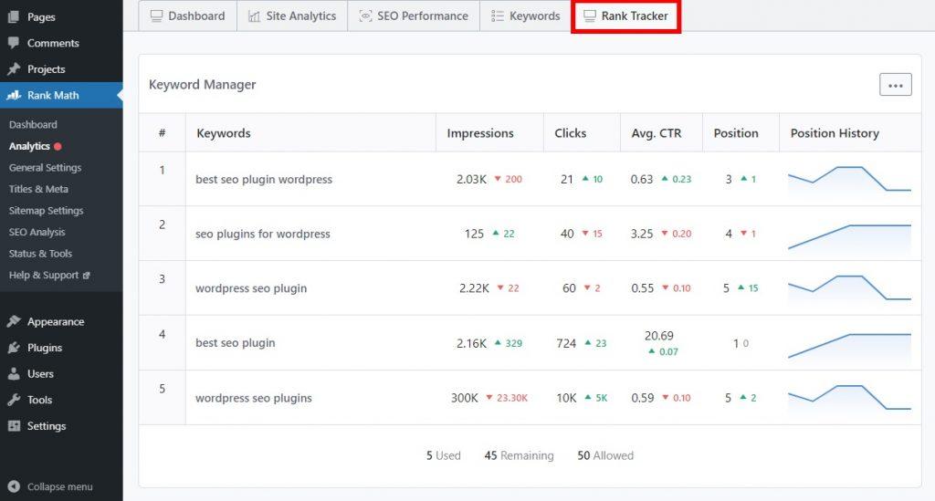 rank math review tracker