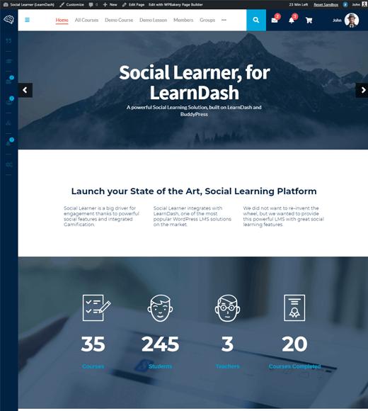 Social Learner WordPress Theme Demo
