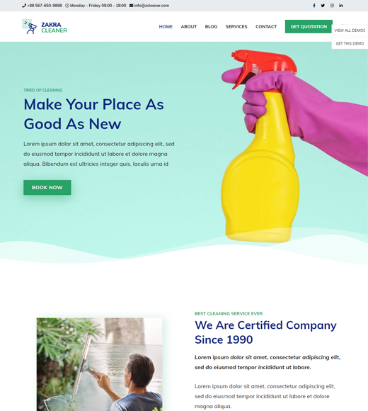 Zakra Theme for Cleaning Services