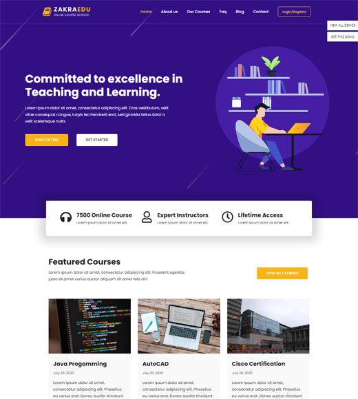 Zakra Online Courses Theme Demo