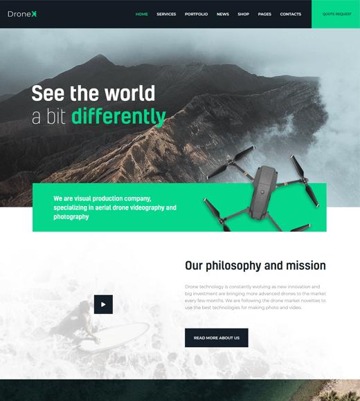 DroneX aerial photography WordPress theme
