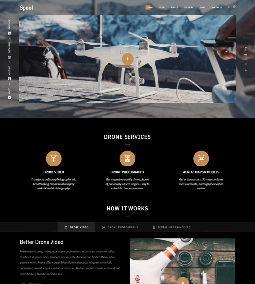 Spool WordPress drone theme