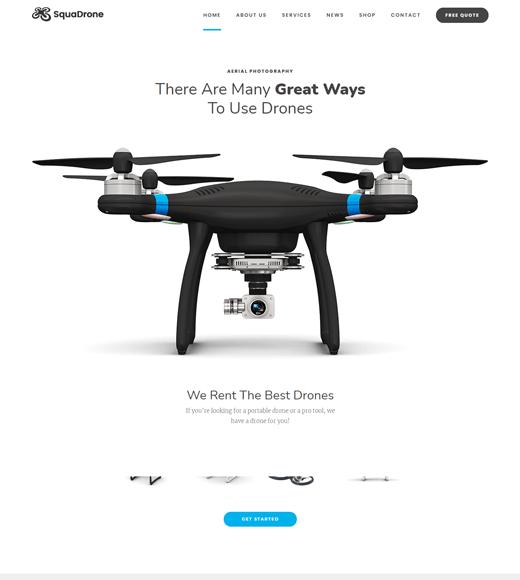 SquaDrone aerial photography WordPress theme