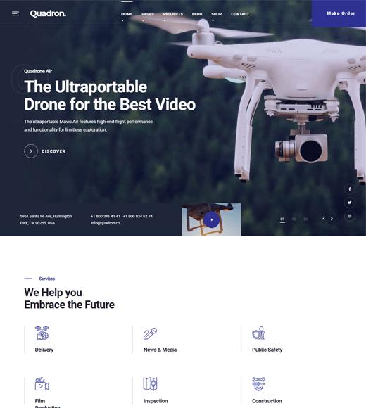 Quadron aerial photography WordPress theme