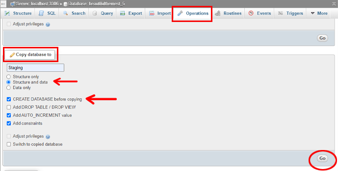 Create WordPress Staging Site New Database