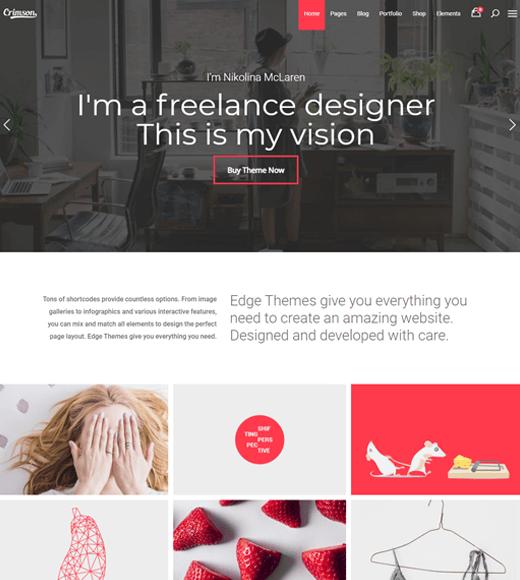 Crimson WordPress Template For Freelance Website