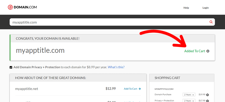 Domain.com Add To Cart