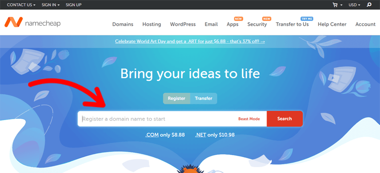 Namecheap how to register a domain name