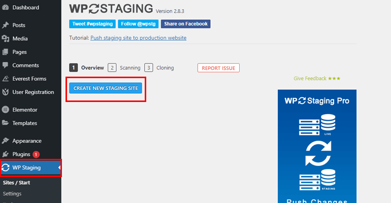 WP Staging Create New WordPress Staging Site