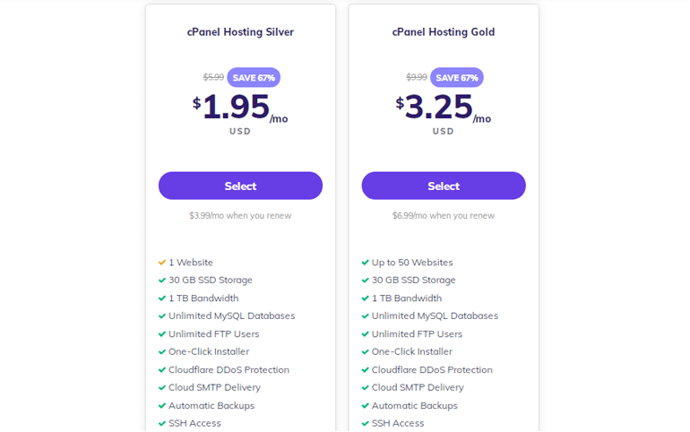 cPanel Hosting Pricing