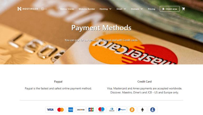 Payment Method Hostinger WordPress Hosting Review