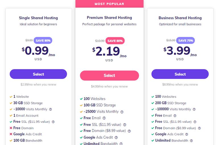 Shared Web Hosting Pricing