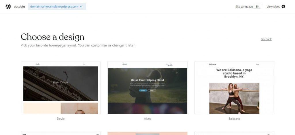 choose design wordpress.com