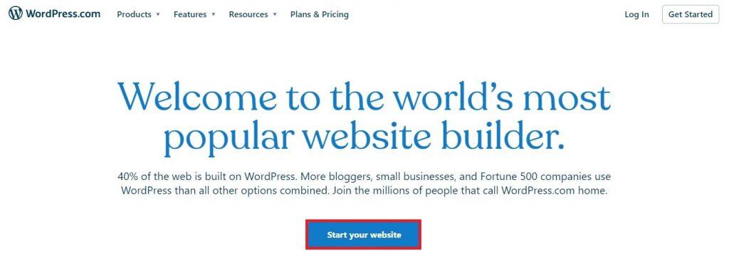 start wordpress.com