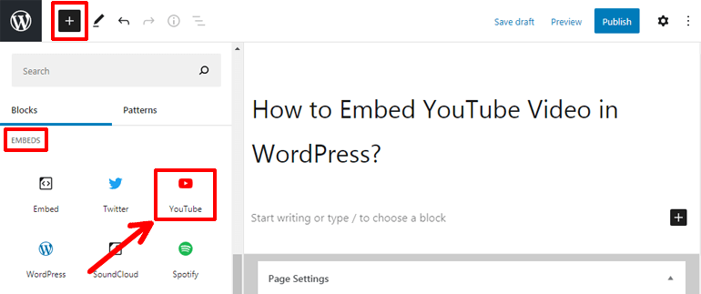 YouTube Block How to Embed YouTube Video in WordPress