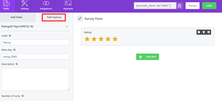 Field Options of Survey Form