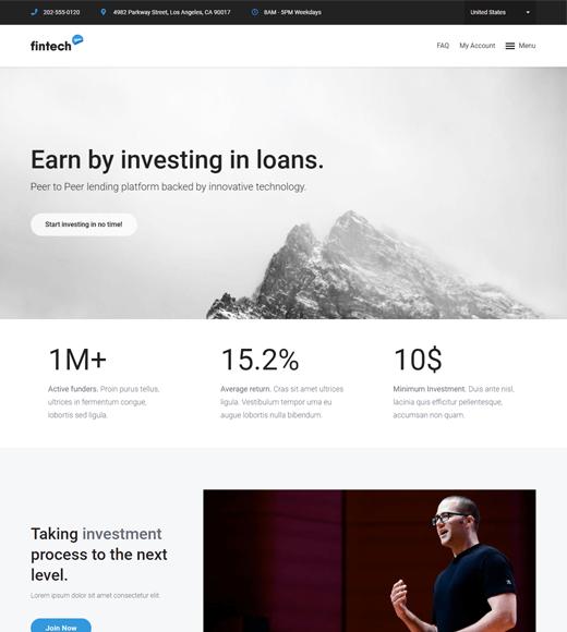 Fintech WP Finance Blog WordPress Theme
