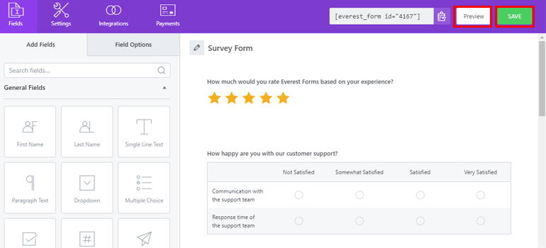 Save and Preview Survey Form
