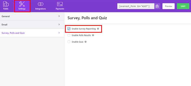Enable Survey Reporting for Form