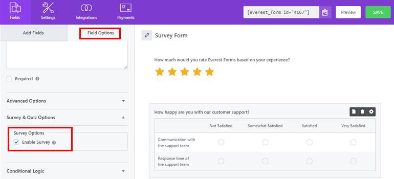 Enable Survey