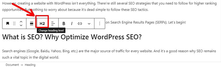 Adding Heading Tags to Imrove SEO on WordPress