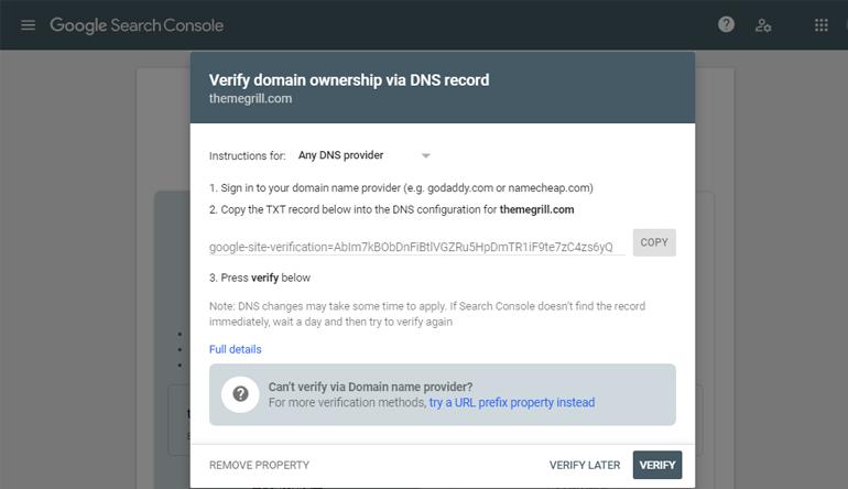 Domain Verification Via DNS
