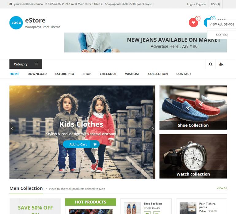 eStore Theme for eCommerce Website