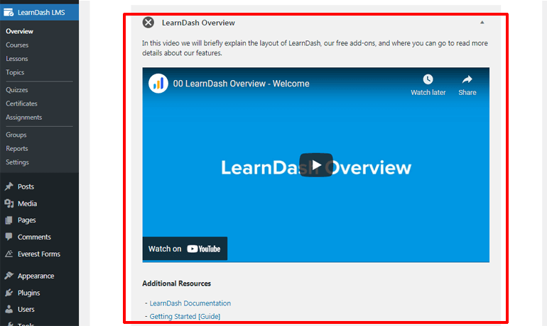 LearnDash Video and Documentation