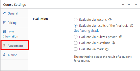 LearnPress Accessment Settings