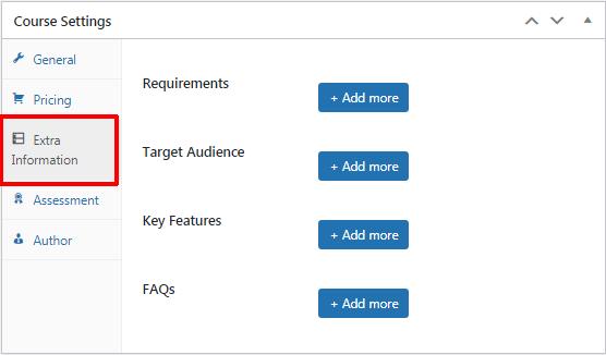 LearnPress Extra Information Settings