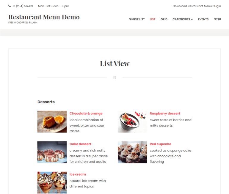 Restaurant Menu by MotoPress Demo