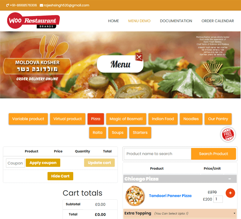 Restaurant Menu for WooCommerce Demo